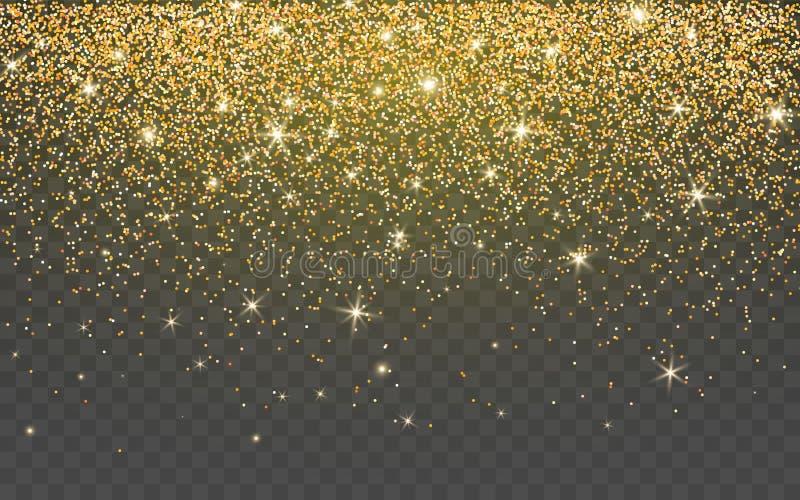 Gouden schitter fonkeling op een transparante achtergrond De gouden Trillende achtergrond met fonkelt lichten Vector illustratie vector illustratie
