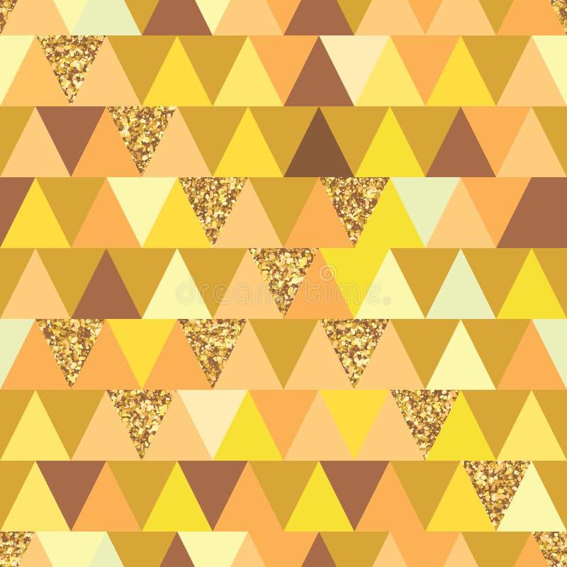 Gouden schitter het naadloze patroon van de driehoekssymmetrie royalty-vrije illustratie