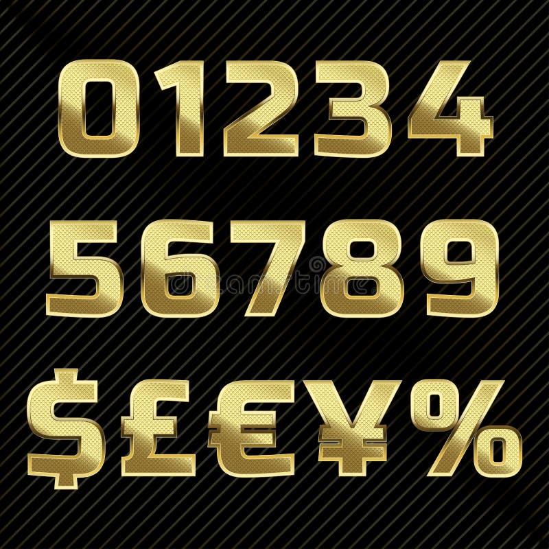 Gouden schitterend metaalalfabet - aantallen en symbolen royalty-vrije illustratie