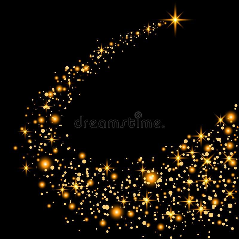 Gouden schitterende de sleep fonkelende deeltjes van het sterstof op transparante achtergrond Ruimtekomeetstaart Vectorglamourman royalty-vrije illustratie