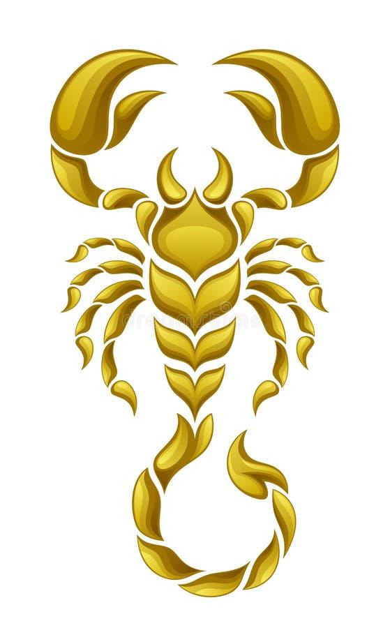 Gouden schorpioen stock illustratie