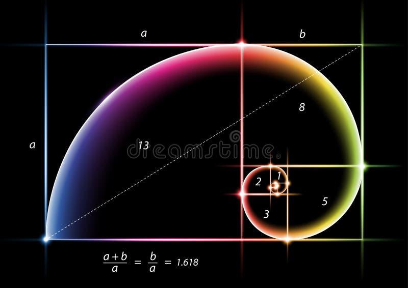 Gouden sectie met gloed kleurrijk licht over zwarte stock illustratie
