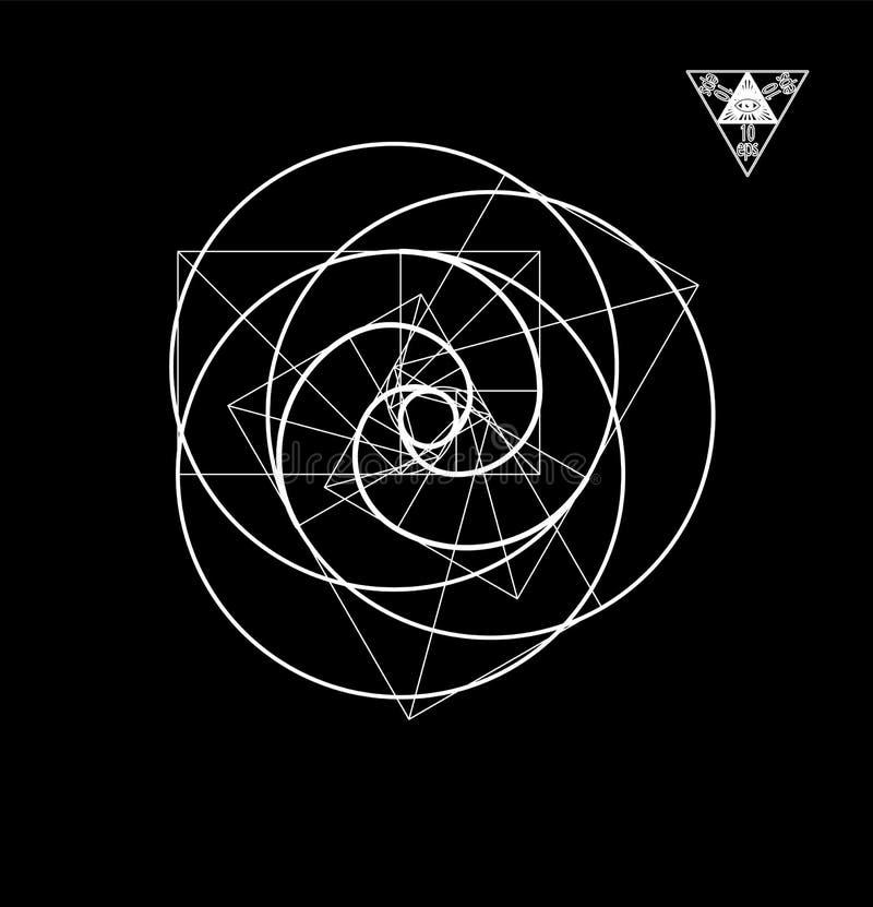 Gouden sectie over een zwarte achtergrond in een minimalistic stijl Vector illustratie vector illustratie