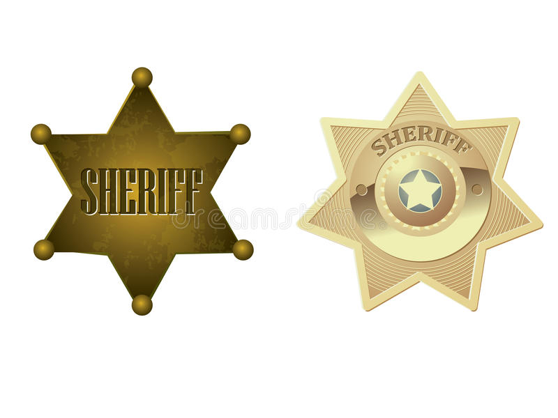 Gouden sheriffkenteken royalty-vrije illustratie