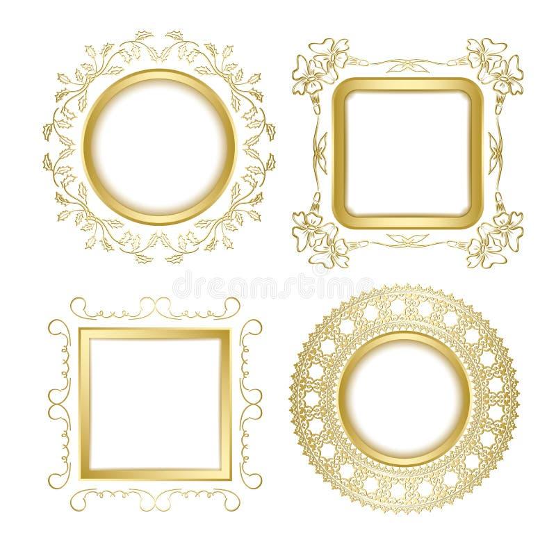 Gouden sier vectorkaders met transparante schaduw - wijnoogst royalty-vrije illustratie