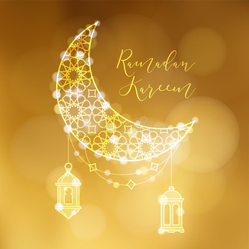 Gouden siermaan met Arabische lantaarns en bokeh lichten Feestelijke decoratie, vectorillustratieachtergrond groet royalty-vrije illustratie