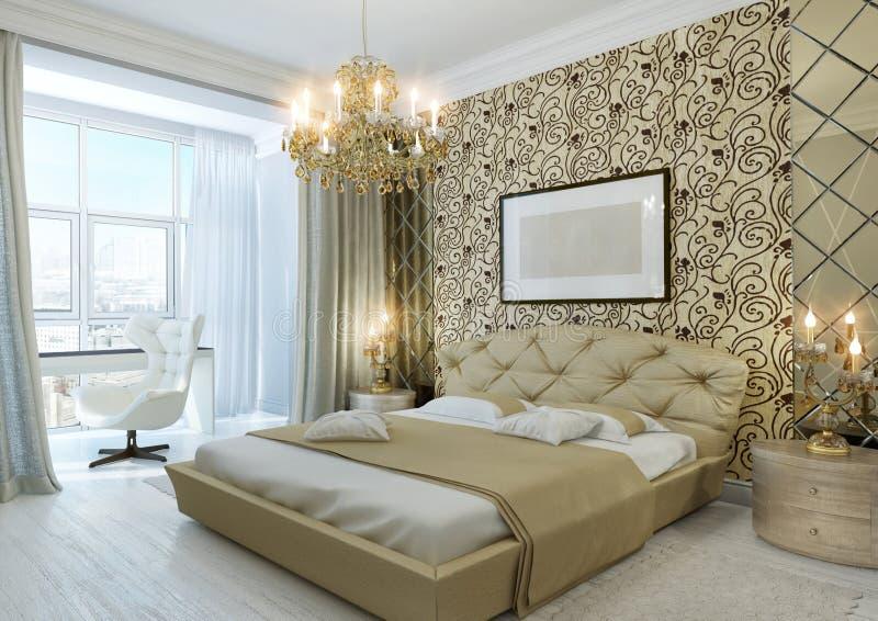 Gouden slaapkamer stock foto's