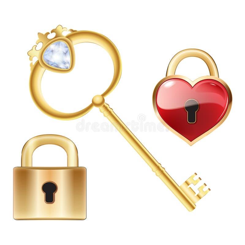Gouden sleutel met diamant en goud gesloten slot royalty-vrije illustratie