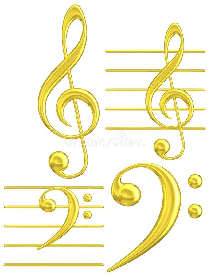 Gouden sleutel muzikaal symbool G & F royalty-vrije illustratie