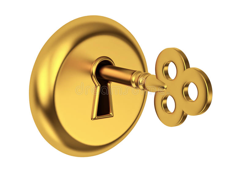 Gouden sleutel in sleutelgat stock illustratie