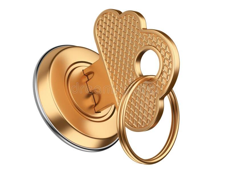 Gouden sleutel in sleutelgat het concept van de de wolkenveiligheid van opslaggegevens stock illustratie
