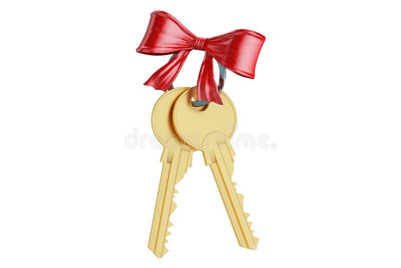 Gouden sleutels met rode boog, het 3D teruggeven stock illustratie