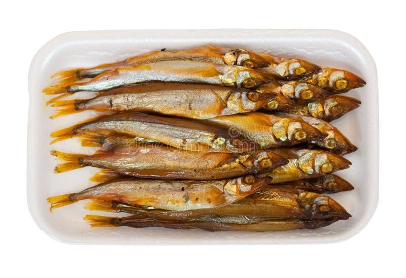 Gouden smoke-dried vissen stock fotografie