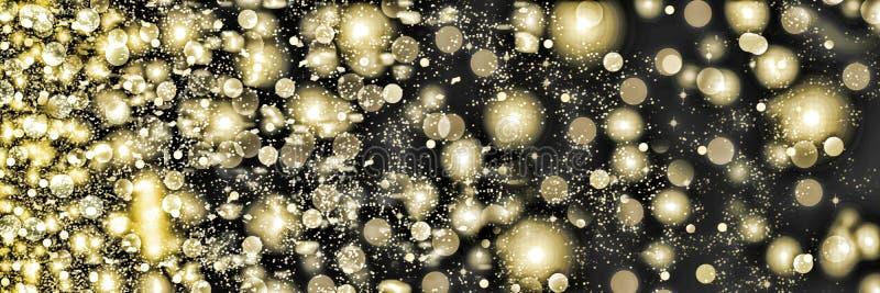 Gouden sneeuwvlokken die op een zwarte achtergrond wervelen Dalende sneeuw bij nacht Nieuw jaar, Kerstmis royalty-vrije stock afbeelding