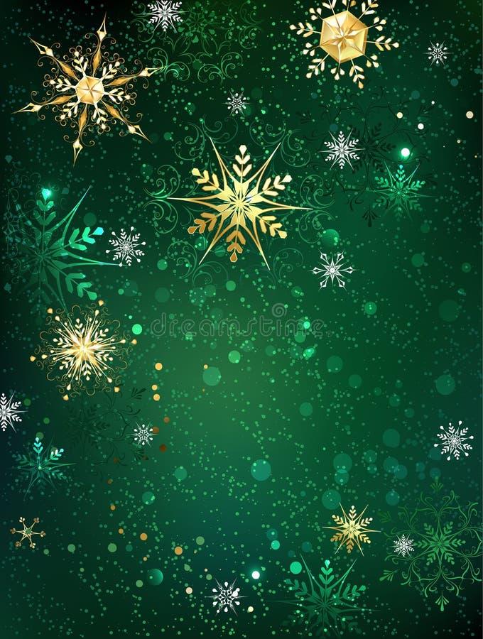 Gouden sneeuwvlokken op een groene achtergrond stock illustratie