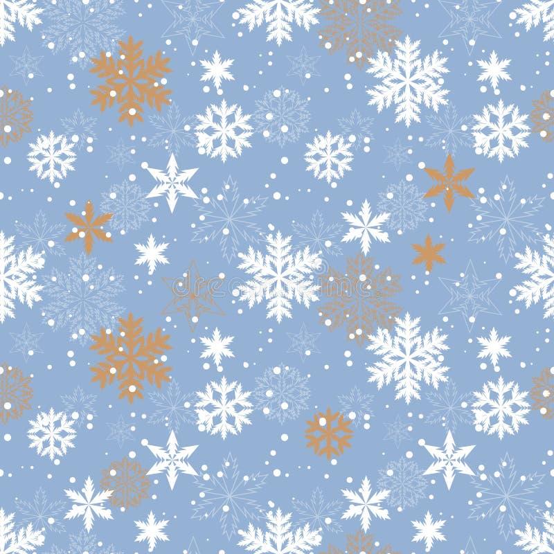 Gouden sneeuwvlokken vector naadloos patroon royalty-vrije stock fotografie