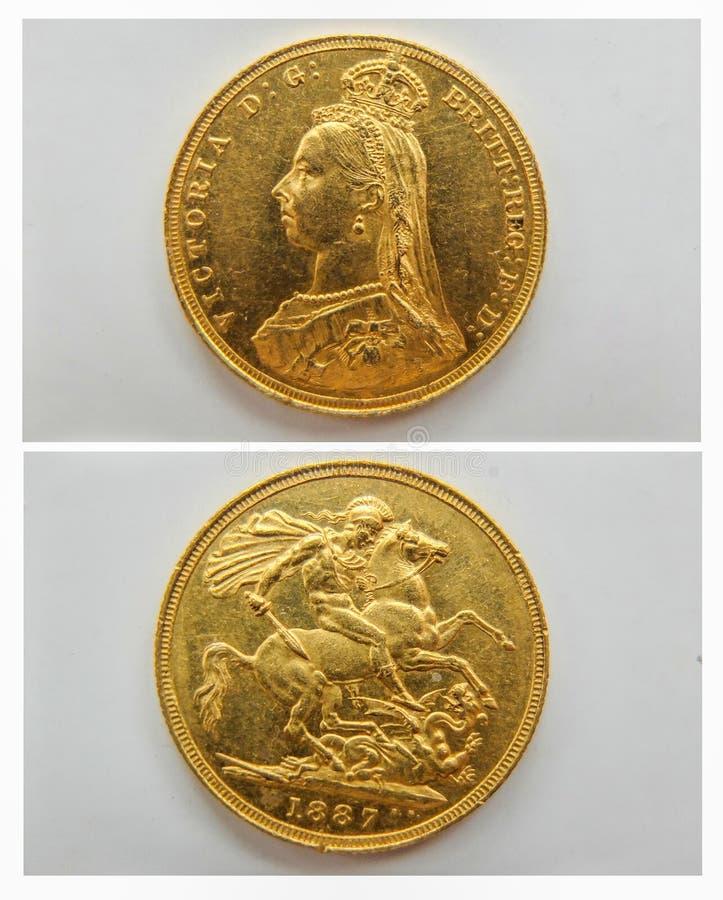 Gouden soeverein muntstuk 1887, voorzijde en rug 2