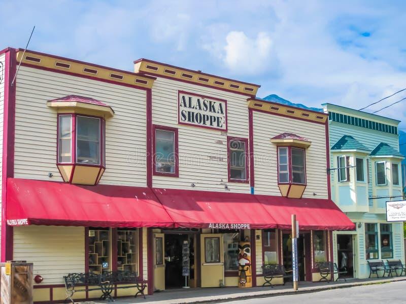 Gouden spoedstad, Skagway, Alaska stock afbeeldingen
