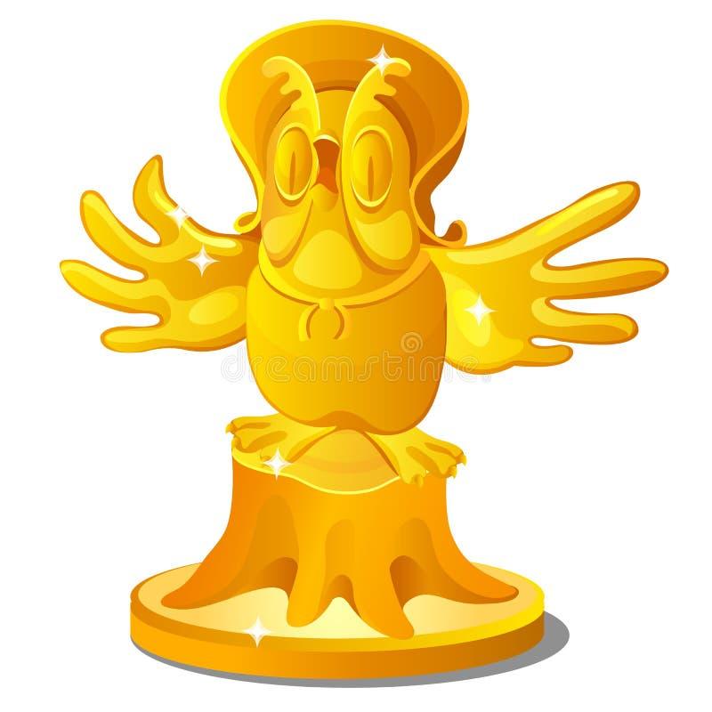 Gouden standbeeld van een oude die uil op een stomp met een hoed op witte achtergrond wordt geïsoleerd De vectorillustratie van h royalty-vrije illustratie