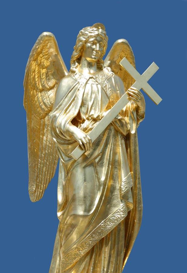 Gouden standbeeld van engel stock foto