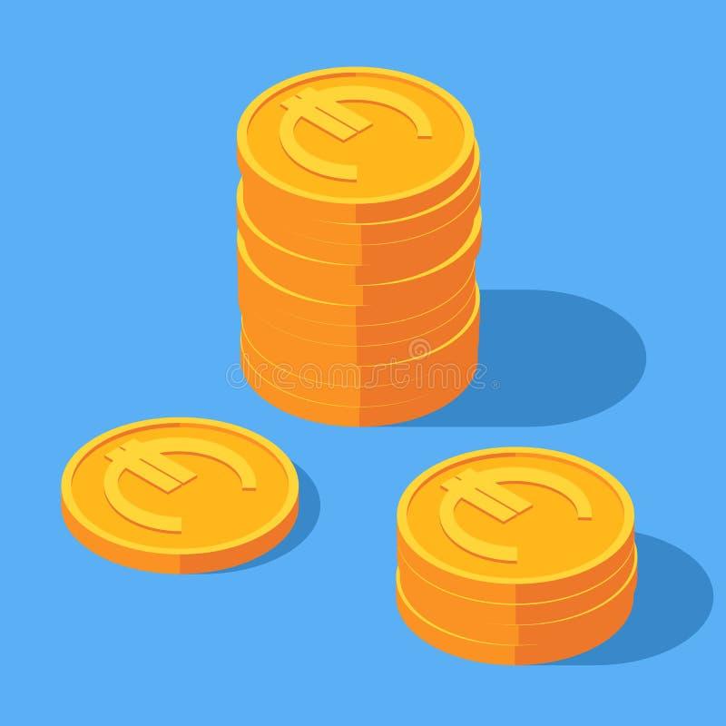 Gouden stapel euro muntstukken stock illustratie