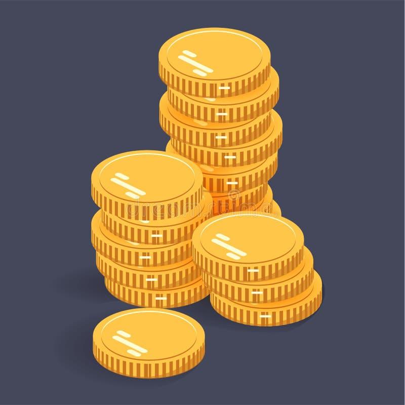 Gouden stapelmuntstukken Vector isometrisch geldpictogram op een gekleurde achtergrond Geld vlak pictogram in isometrische stijl  stock illustratie