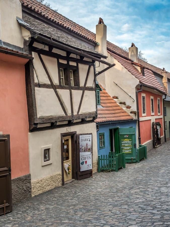 Gouden Steeg, het Kasteel van Praag, Tsjechische republiek royalty-vrije stock afbeeldingen