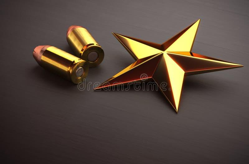 Gouden ster en munitie royalty-vrije stock foto's