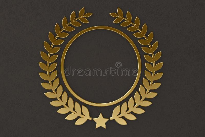 Gouden ster en olijftakembleem 3D Illustratie stock illustratie