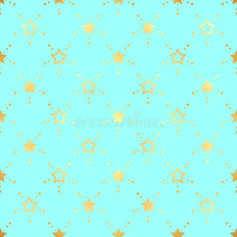 Gouden ster naadloos patroon Abstract blauw modern naadloos patroon met gouden confettiensterren Vector illustratie Glanzende ach stock illustratie