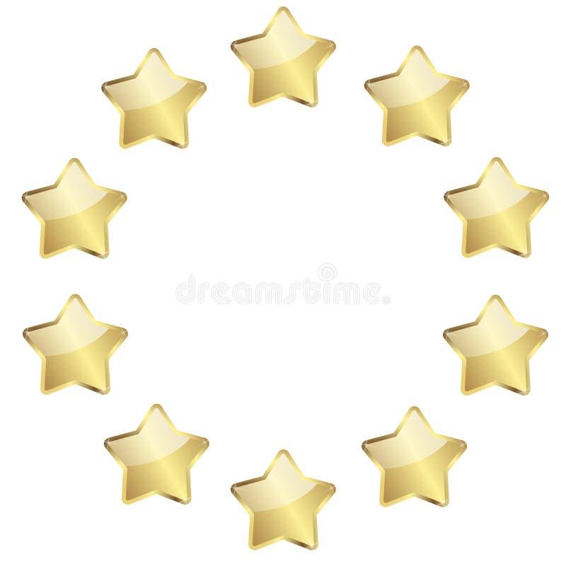 Gouden sterren in een cirkel royalty-vrije illustratie