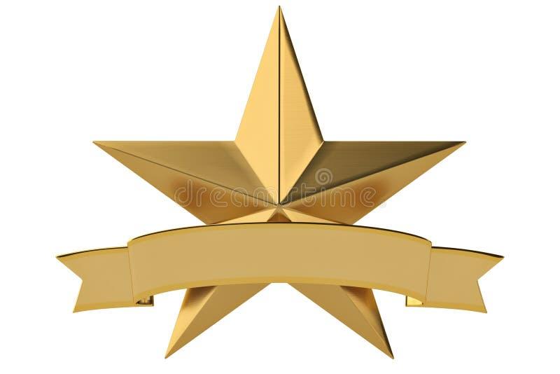 Gouden sterren met lint op witte achtergrond 3D Illustratie stock illustratie