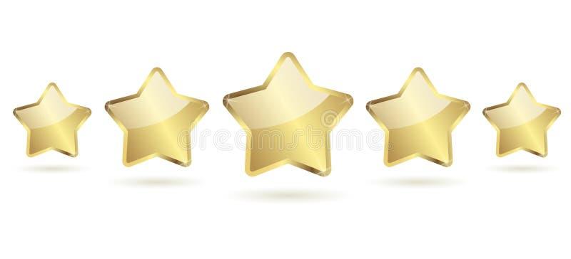 5 gouden sterren met schaduw op een rij royalty-vrije illustratie