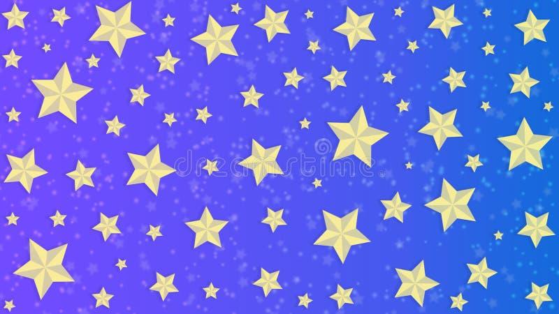 Gouden Sterren op Blauwe en Purpere Achtergrond stock illustratie