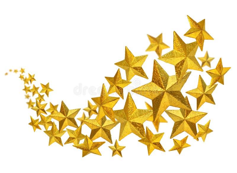 Gouden sterrenstroom stock afbeelding
