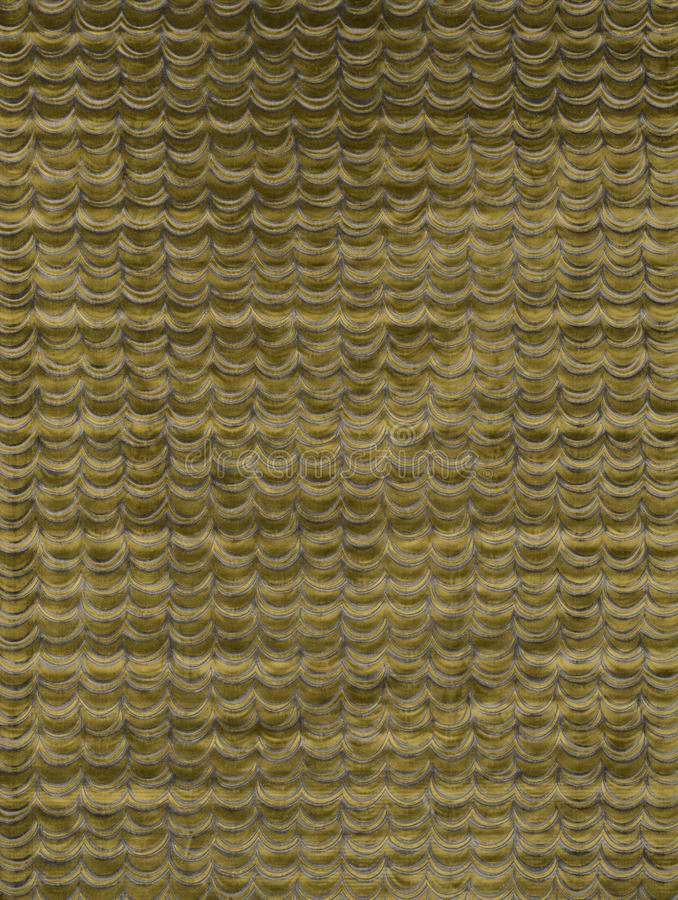 Gouden Stof met Gordijn of Golvenpatroonmonster stock foto's