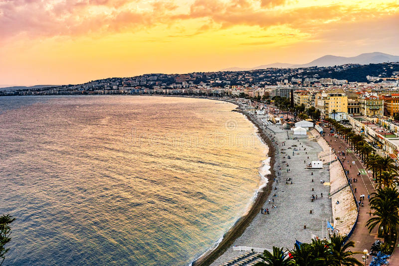 Gouden Strand van Nice, Frankrijk stock afbeelding