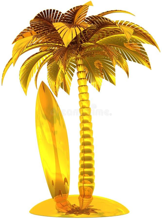 Gouden surfplankpalm en eiland vector illustratie