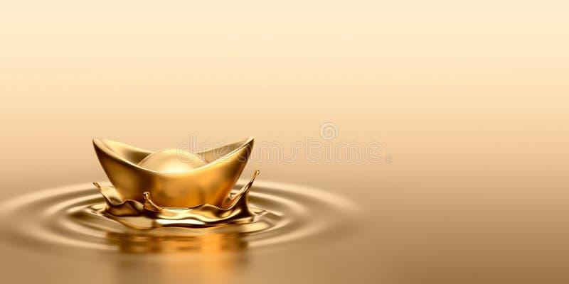 Gouden Sycee - Yuanbao vector illustratie