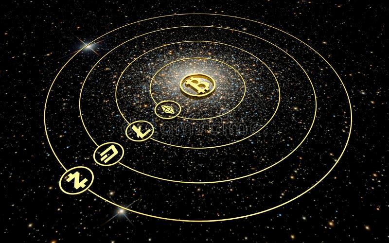 Gouden symbolen van cryptocurrencies - een planetarisch systeem royalty-vrije illustratie