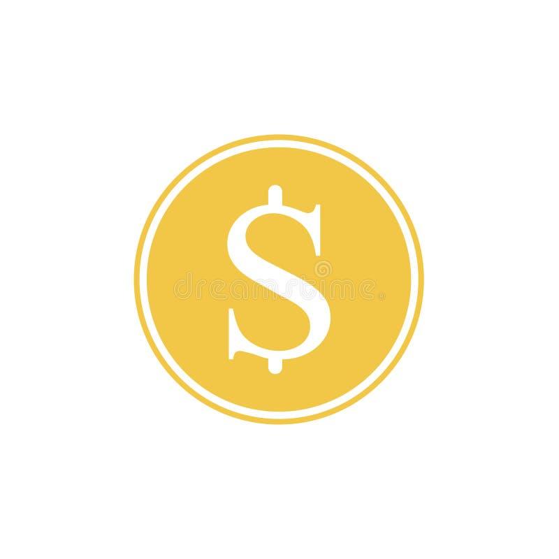 Gouden symbool van de dollar Vector illustratie Gouden die dollarsymbool op witte achtergrond wordt ge?soleerd stock illustratie