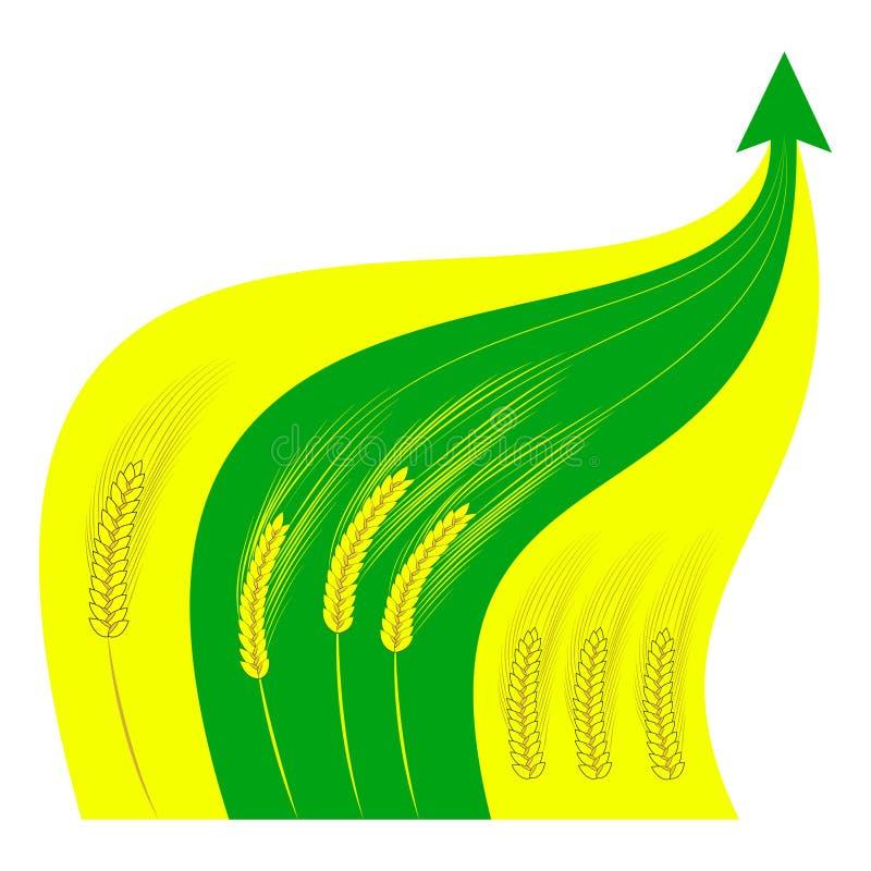 Gouden tarweoren tegen de achtergrond van het kweken van groene grafiek vector illustratie