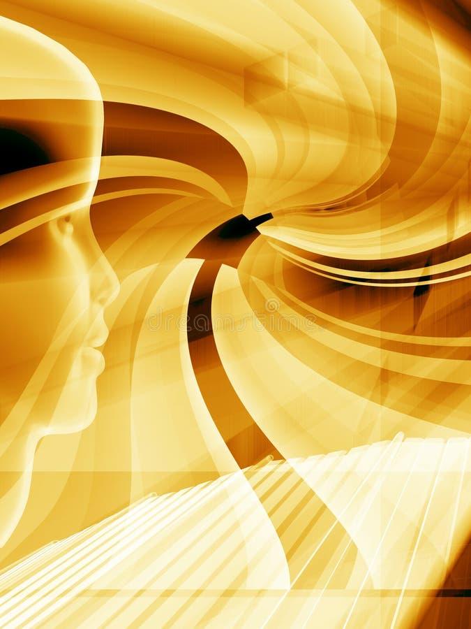 Gouden technologielay-out royalty-vrije illustratie