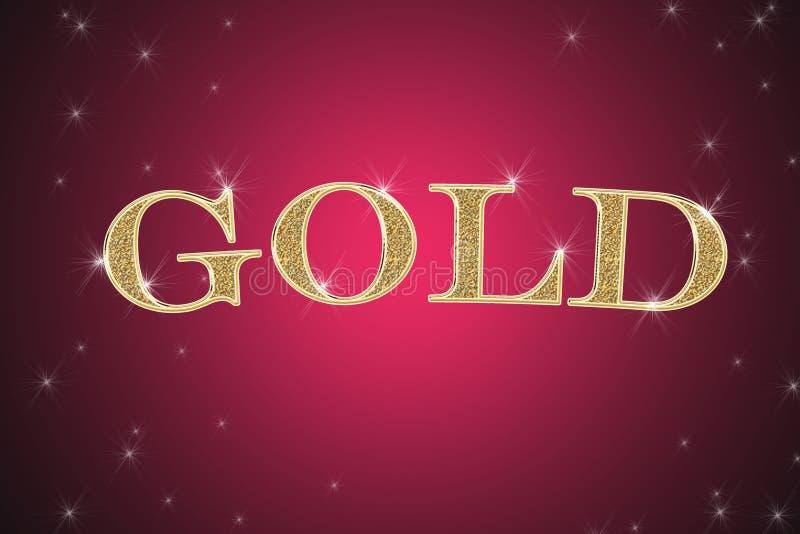Gouden teken, geschreven woordgoud vector illustratie