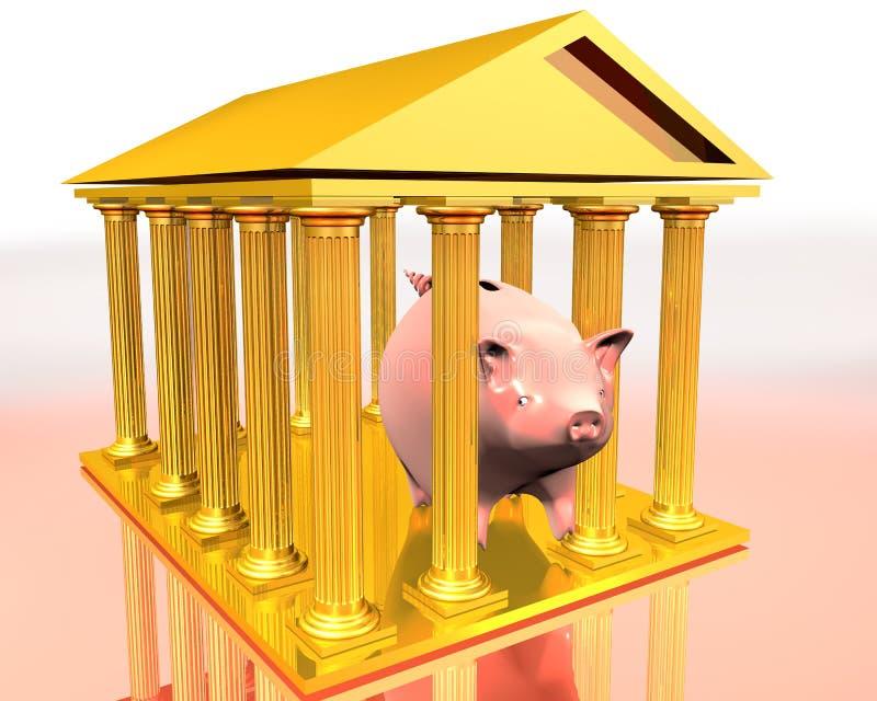Gouden tempel en piggy-bank vector illustratie