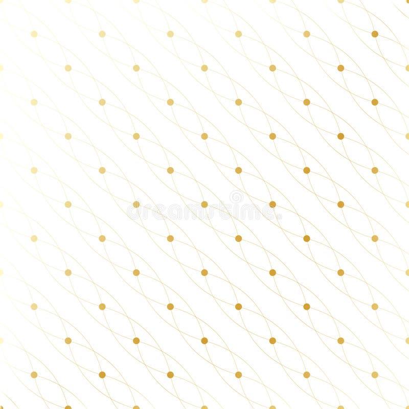 Gouden textuur Geometrisch naadloos patroon met verbonden lijnen en punten De cirkels van de lijnenvlecht Grafische achtergrond stock illustratie