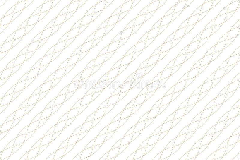 Gouden textuur Geometrisch naadloos patroon met verbonden lijnen en punten De cirkels van de lijnenvlecht Grafische achtergrond vector illustratie