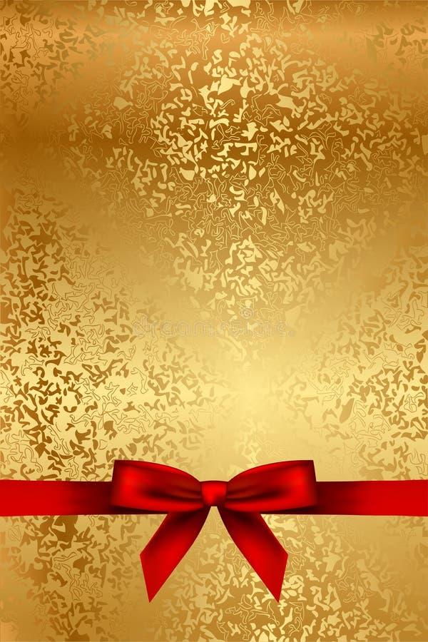 Gouden textuur met rode boog stock illustratie