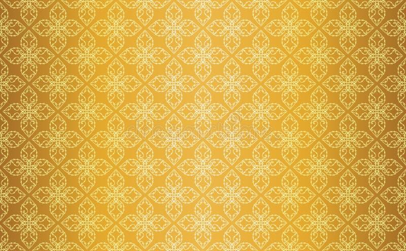 Gouden Thaise Uitstekende Lijn Art Seamless Pattern Background royalty-vrije illustratie