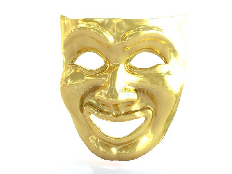 Download Gouden Theatraal Masker Die Emoties Afschilderen 3d Geef Terug Stock Illustratie - Illustratie bestaande uit geluk, vreugde: 114225639